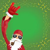 Vector Dj Rock N Roll Santa Claus With Smoking Pipe, Santa Beard And Funky Santa Hat Isolated On Gre poster