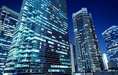 pic of modern building  - Tall office buildings by night - JPG
