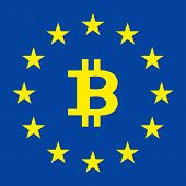 Flag Of The European Union. Flag Of Europe. The European Flag Bitcoin In The Center. Unity Of Europe poster