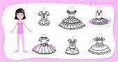 Little Ballet Dancer. Dress Up Colored Paper Doll In Cartoon Style With Ballet Tutu. Color, Cut And  poster