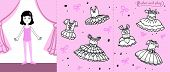 Little Ballet Dancer On Stage. Colored Paper Doll In Cartoon Style With Ballet Tutus. Color Or Stick poster