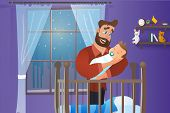 Vector Cartoon Illustration Concept Happy Father. Image Young Bearded Man Holding Newborn Baby. Happ poster