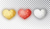 Hearts Glitter Texture Set. Red, Gold, Silver Hearts Isolated. Symbol Love Heart Shape Isolated. Vec poster