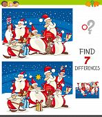 Cartoon Illustration Of Finding Seven Differences Between Pictures Educational Game For Kids With Sa poster
