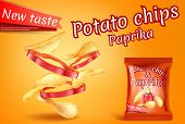 Promotion Banner With Realistic Potato Chips And Paprika Slices. Fast Food With Hot Pepper, Foil Pac poster