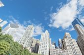 Low Angle View Of Chicago Skyscrapers Under Cloud Blue Sky poster