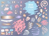 Set Stroke Spot Golden Pink Blog. Brush, Pen, Marker, Chalk, Brush Stroke, Lines, Points, Gold. Vect poster