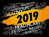 2019 - Word Cloud Collage, Health Concept Background poster