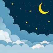 Half Moon, Stars, Clouds On The Dark Night Starry Sky Background. Galaxy Background With Crescent Mo poster