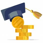 Vector Illustration Concept Paid Education System. Cartoon Image Gold Coin And Academic Hat. Paid Tu poster