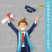 Vector Concept Illustration Cartoon Happy Students. Smiling Young Guy Congratulations His Classmates poster