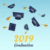 Vector Concept Illustration Cartoon Happy Students. Image Graduation Season 2019 Students. Set Throw poster