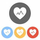 Cardiac Pulse. Heart And Pulse Line. Simple Single Icon. Set Of White Icons On Colored Circles poster