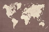High Detailed Vintage Style Map Illustration Of The World (planisphere) poster