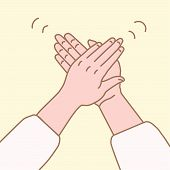 Vector Illustration Of Hand Clap In A Simple Drawn Linear Style.clap Your Hands Gesture.applause Han poster