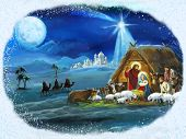 Traditional Christmas Framed Scene With Holy Family For Different Usage poster