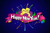 Happy New Year In English Language. Colorful Line Art. Vector Creative Background. poster