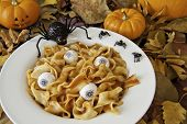 image of jock  - Dish of noodle brains and eyeballs with Halloween spiders and a jock - JPG