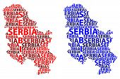 Sketch Serbia Letter Text Map, Republic Of Serbia - In The Shape Of The Continent, Map Serbia - Red  poster
