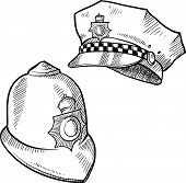 picture of bobbies  - Doodle style police hat or and English bobby cap in vector format - JPG
