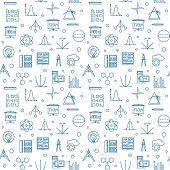 Science, Technology, Engineering And Math Vector Seamless Pattern Made With Stem Blue Linear Icons O poster