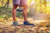 Running Sport Fitness Man. Close Up Of Male Legs And Shoes. Young Man Athlete Fitness Runner Running poster
