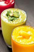 Colorful Smoothie, Healthy Detox Vitamin Diet Or Vegan Food Concept, Fresh Vitamins, Breakfast Drink poster