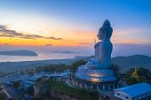 scenery aerial photography sunrise at Phuket big Buddha. Phuket Big Buddha is one of the island most poster