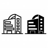 Rounded Skyscrapers Line And Glyph Icon. Office Building With Rounded Roof Vector Illustration Isola poster