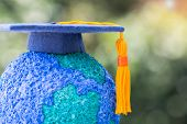 Education World Or Graduated Study Abroad International Ideas. Graduation Hat On Top Paper Mache Cra poster