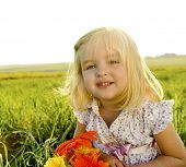 image of young girls  - Young girl is happy outside - JPG