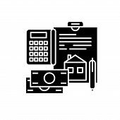 Personal Expenses Black Icon, Vector Sign On Isolated Background. Personal Expenses Concept Symbol,  poster