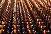 Glass Bottle Texture. Glass Bottle At Factory For Production Of Glass Containers. Many Of Transparen poster