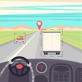 Self-driving Truck. Drived By Robot, Vector Illustration poster