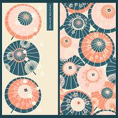 Japanese Set With A Card And Seamless Vector Pattern With Vintage Traditional Japanese Umbrellas. De poster