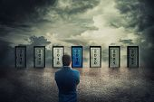 Rear View Man In Front Of Many Doors With Different Years Numbers. Difficult Decision, Concept Of Th poster