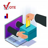 Isometric Online Voting And Election Concept. Digital Online Vote Democracy Politics Election Govern poster