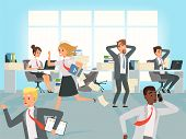 Office Deadline. Business Workers Managers Stress Running On Workplaces At Work Vector Characters. I poster