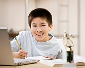 picture of puberty  - Determined student doing homework and using laptop - JPG