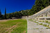 picture of olympic stadium construction  - Stadium in the archeological site of Delphi Greece - JPG