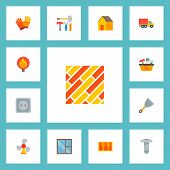 Set Of Industry Icons Flat Style Symbols With Putty Knife, Casement, Moving Truck And Other Icons Fo poster
