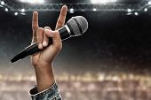 Rock Singer Metal Hand Sign On The Stage poster