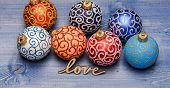 Christmas Ornaments Decorations On Vintage Wooden Background. Christmas Decorations Concept. Pick Co poster