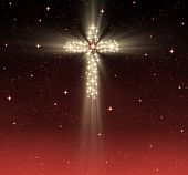 image of christian cross  - great glowing christian cross in starry night sky - JPG