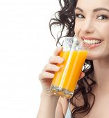 pic of cold-shoulder  - head and shoulders portrait of attractive  caucasian smiling woman isolated on white studio shot drinking orange juice face skin - JPG