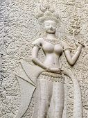 image of concubine  - Details of Apsara carving on the corridor of Angkor Wat Cambodia - JPG