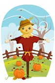 stock photo of scarecrow  - A vector illustration of a scarecrow during Fall harvest - JPG