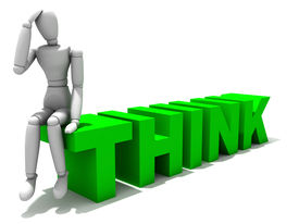stock photo of verbs  - Quality 3D render of a model sitting on the end of the word think - JPG