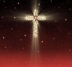 image of christian cross  - great glowing christian cross in starry night sky - JPG