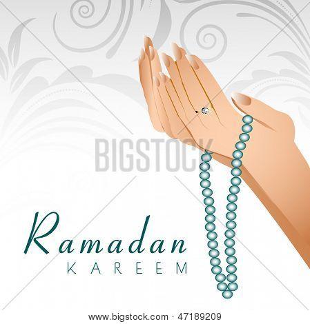 Ramadan Kareem background with female human hands holding rosary and  praying(reading Namaz, Islamic poster